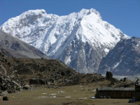 Kangchenjunga Tent Peak and Nepal Peak  from Lhonak